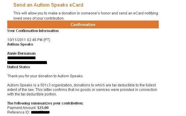 Autism Speaks donation smaller